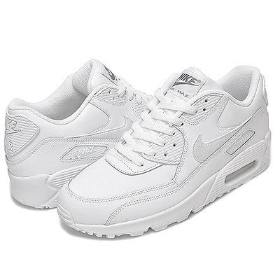 new concept 832b1 e15ab Nike Air Max 90 Leather Gs Big Kids 724821-100 White Running Shoes Youth Sz  6.5