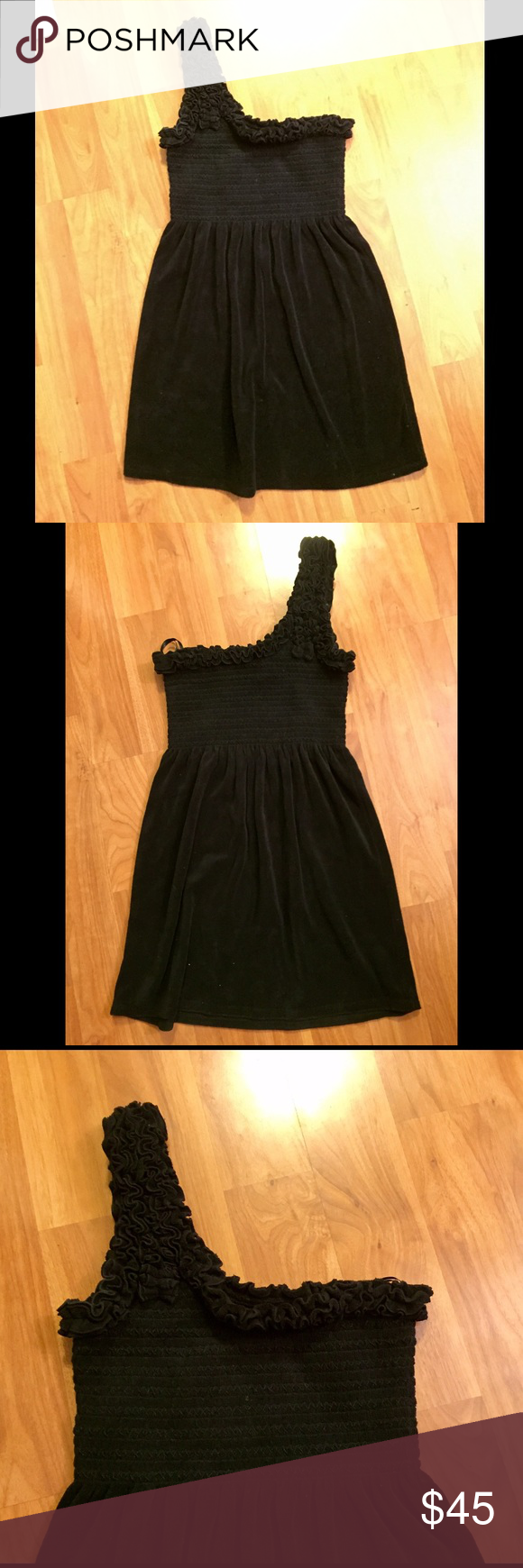 Juicy couture one strap dress Black terry cloth Juicy Couture one shoulder dress Juicy Couture Dresses One Shoulder