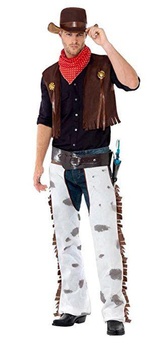 Smiffys Herren Cowboy Kostum Chaps Weste Hut Und Halstuch Grosse