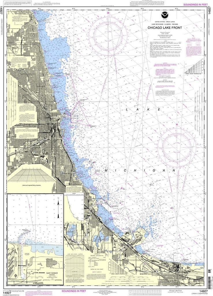 Noaa Nautical Chart 14927 Chicago Lake Front Gary Harbor Chicago Lake Nautical Chart Nautical