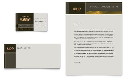 Art Gallery  Artist Business Card  Letterhead Template Design - letterhead sample in word