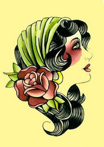 1bba3a94313d gypsy girl tattoo flash | Beauty (Hair, Nails, & Makeup) | Gypsy ...