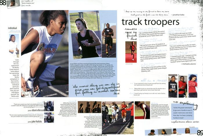 Great Yearbook Page Layout Example from Trinity Hs, Euless