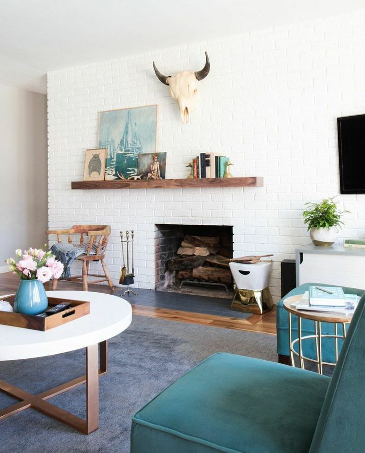 Mid Century Modern Fireplace: Decorating Around An Off-Center Non-Functional Fireplace