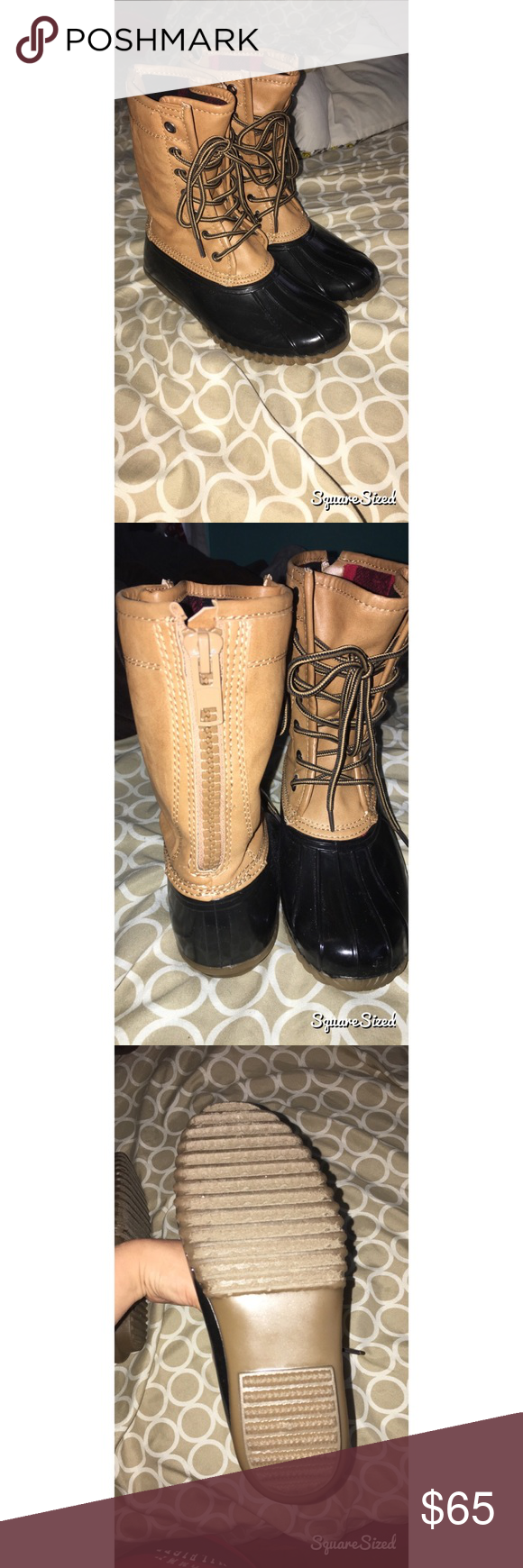 NEW Duck boots size 6 Super cute never worn bean boots size 6 will do trad.es (: also will sell on other sites just ask! Shoes Winter & Rain Boots