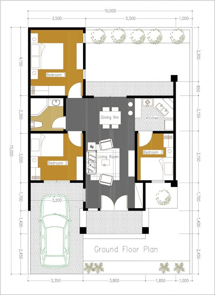 One Side Firewall 3 Bedroom House Plan Cool House Concepts Modern House Plans House Plans Home Design Plans