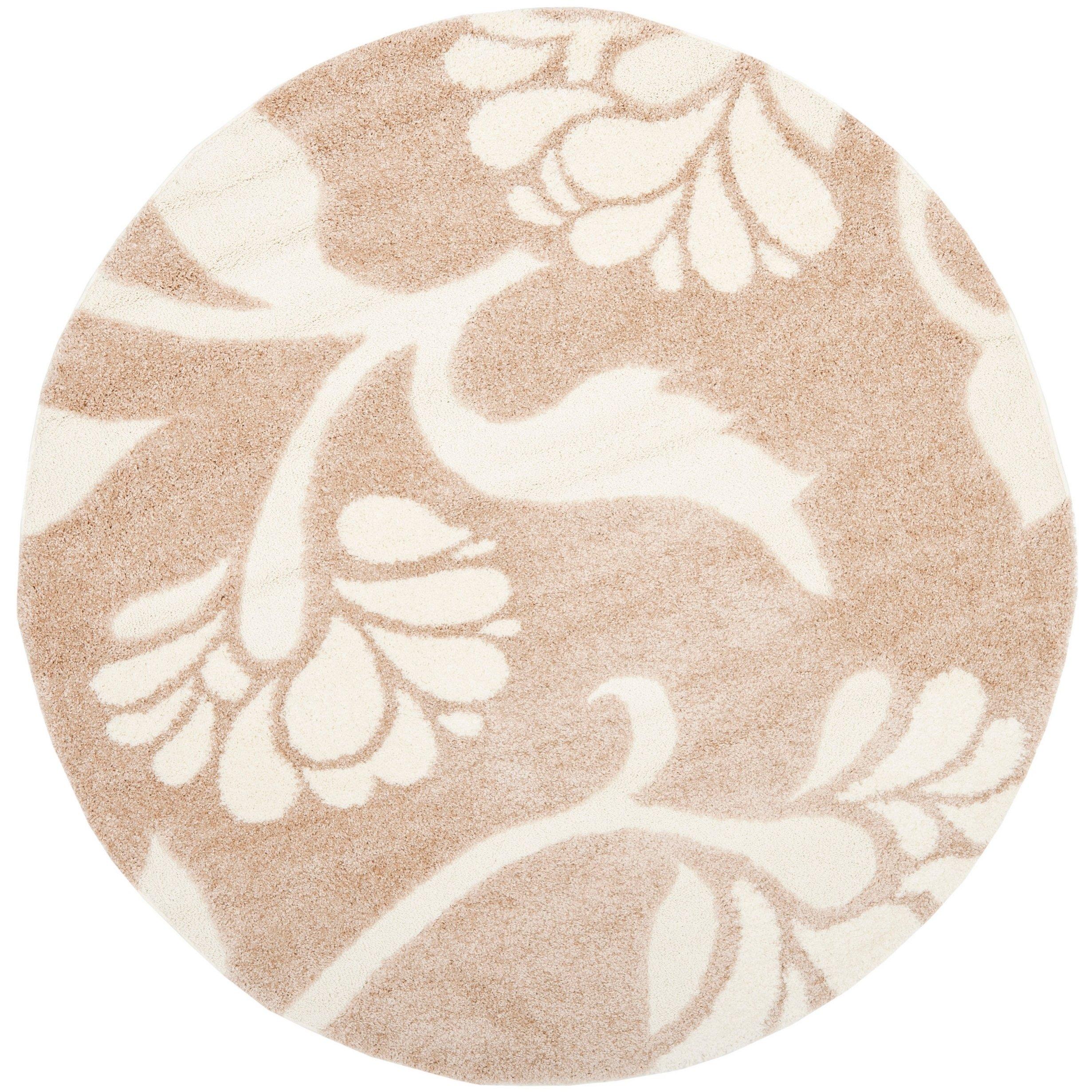 Safavieh Florida Shag Beige Cream Fl Round Rug 6 7 X Sg459 1311 7r Ivory Cotton Botanical