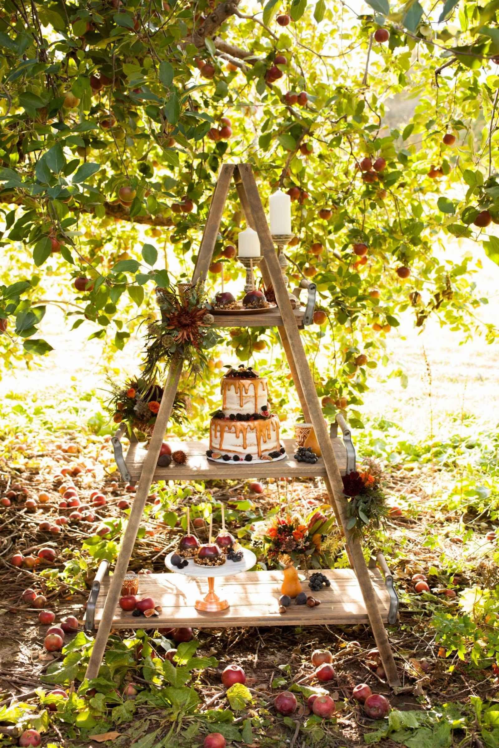 Fall wedding cake and dessert display for outdoor wedding