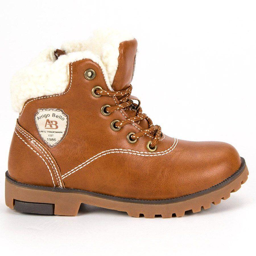 Kozaki Dla Dzieci Arrigobello Arrigo Bello Brazowe Zimowe Buty Z Kozuszkiem Hiking Boots Timberland Boots Boots