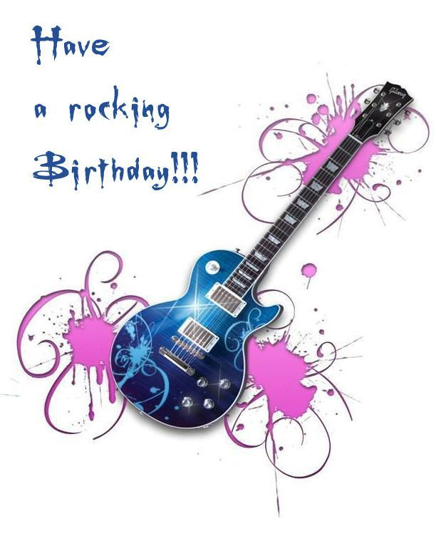 Guitar HBD Background Card Free Funny Birthday Ecards Happy Quotes Pictures