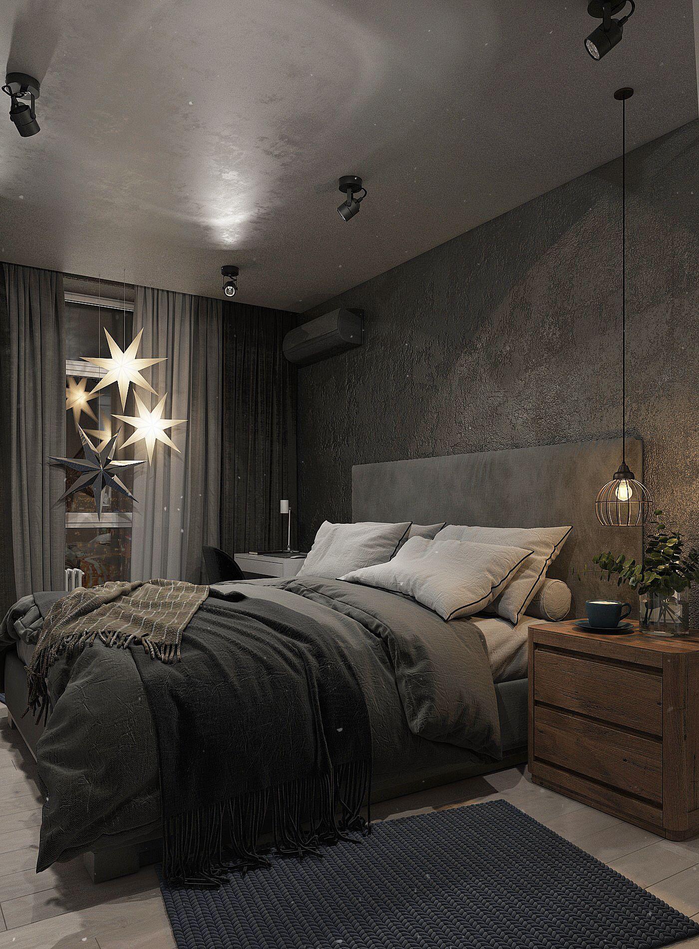 спальня в темных тонах в лофт стиле огни19этажа в 2019 г