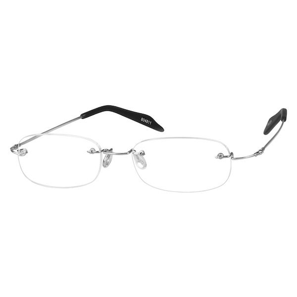 3779d0709c Zenni Lightweight Rimless Prescription Eyeglasses Silver Bendable Memory  Titanium 804811