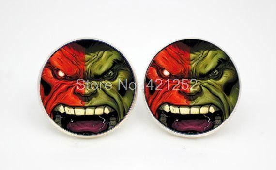 Hulk Logo Superhero Earring stud cartoon style Glass cabochon earrings