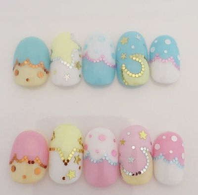 Art, Sanrio, Little Twin Stars, Crescent Moon, Clouds, Stars, Polka Dots, Kawaii, Cute, Baby Blue, Yellow, White, Pink, Gold, Hand Placed Glitter