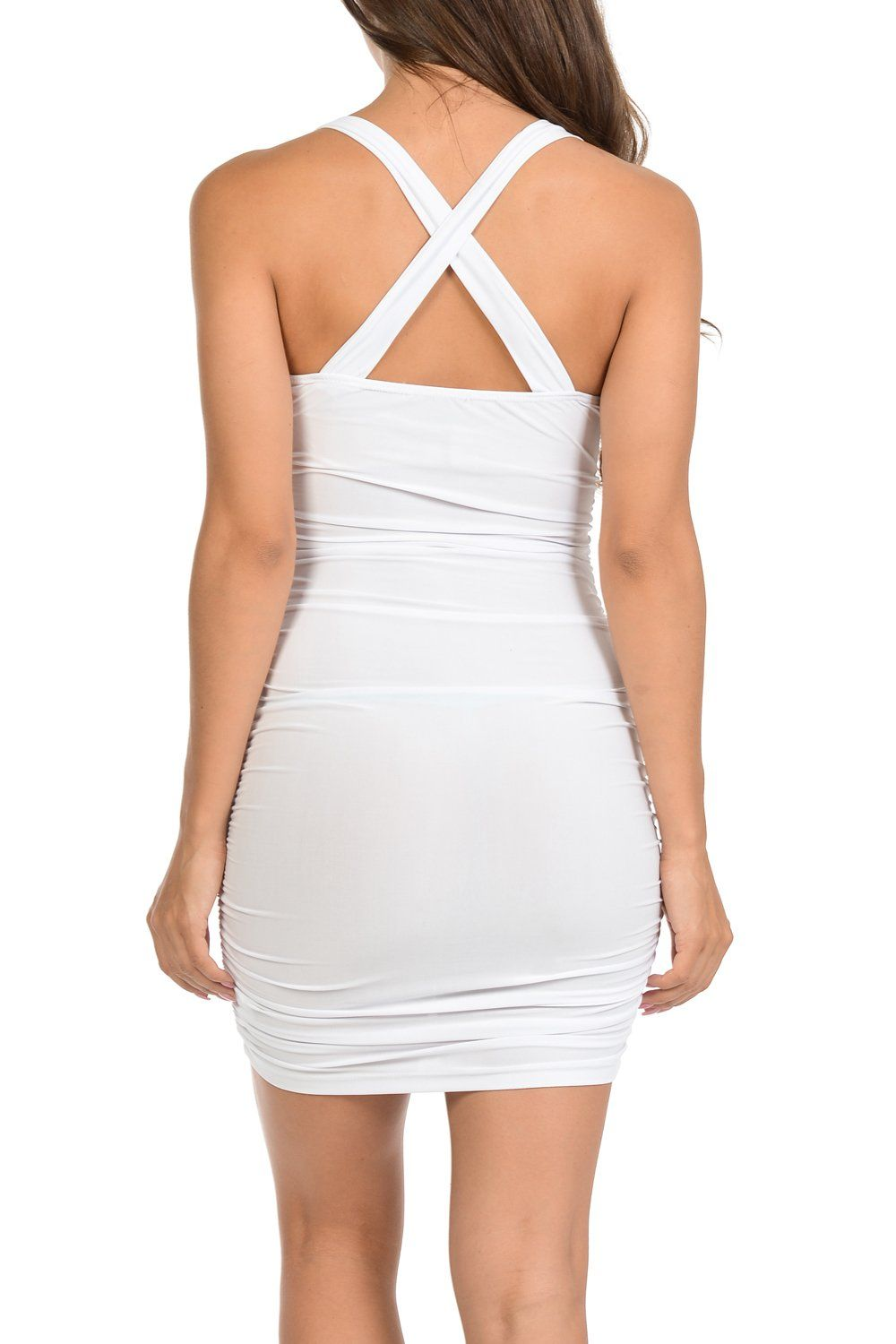 Auliné Collection Womens Sexy Pull On Stretch Ruched Bodycon Dress ...