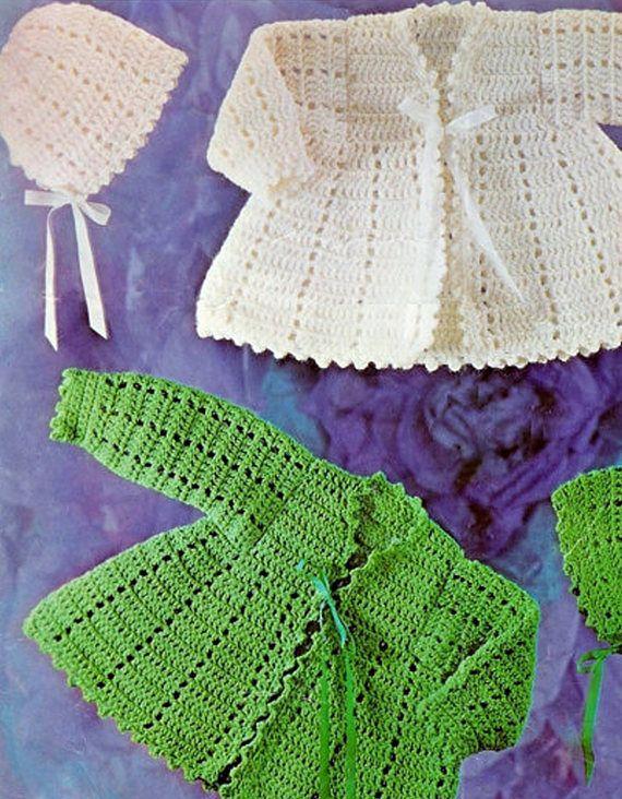 PDF Vintage Baby GREEN Crochet Pattern Matinee Pram Set Bonnet ... da0ce68f6195