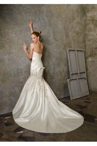 Satin Sweetheart Embroidered Bodice Mermaid Wedding Dress