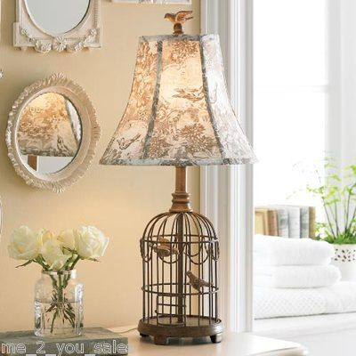 New French Country Shabby Chic Bird Cage Table Lamp Toile Shade T4 Shabby Chic Candle Cage Table Lamp Country Decor