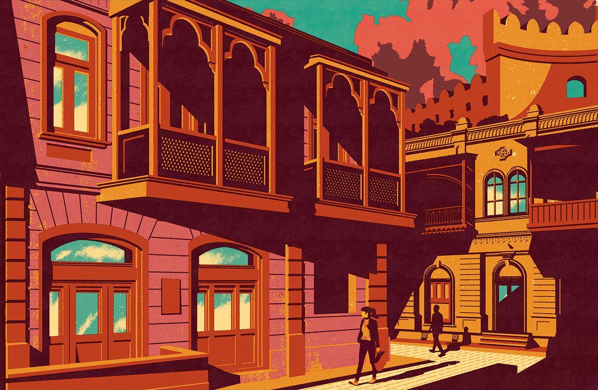 Baku Magazine Illustrations On Behance Magazine Illustration Illustration City Illustration