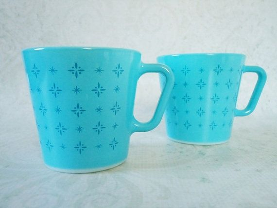 Pair Turquoise Blue Pyrex Coffee Mugs Vintage Foulard Cups Rare