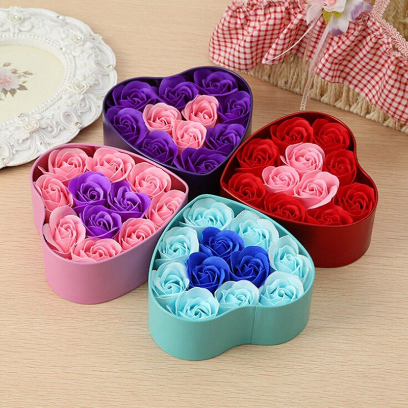 Artificial soap flowers rose heart shaped tin box