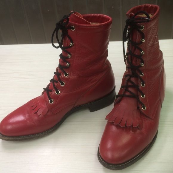 Vintage Classic Red Lace Up Roper Boots