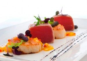 Gourmet Recipe . Seared Tuna and Scallop Tataki with Mango Chilli Sauce.