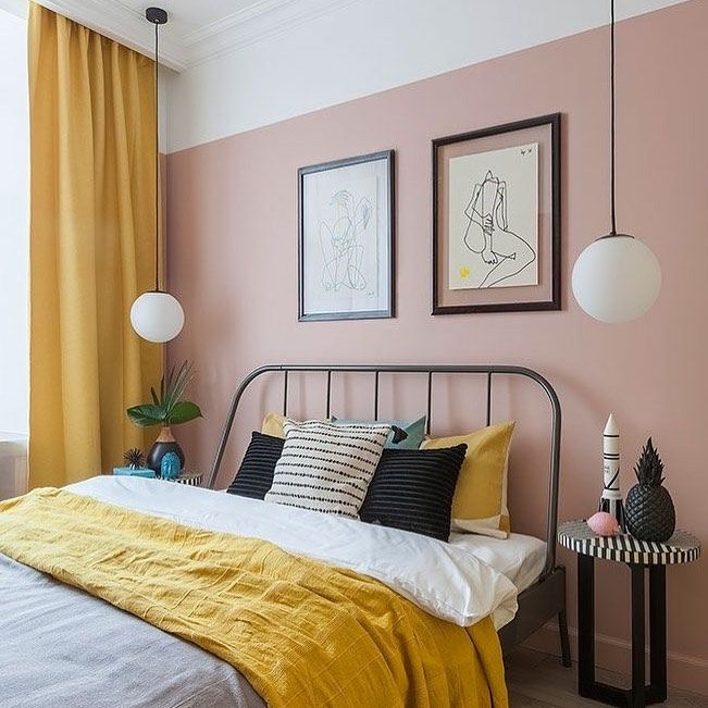 Cant Get Enough Of The Mustard Yellow And Blush Pink Combo This Example Via Pinterest Oliointeriors Pink Bedroom Walls Wall Decor Bedroom Bedroom Makeover Yellow pink bedroom ideas