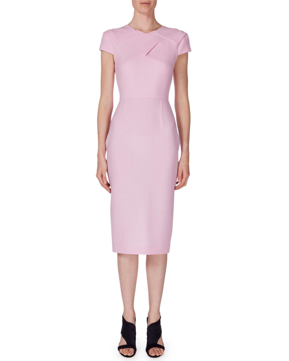 Rm by Roland Mouret Pleated Strapless Wool Crepe Dress