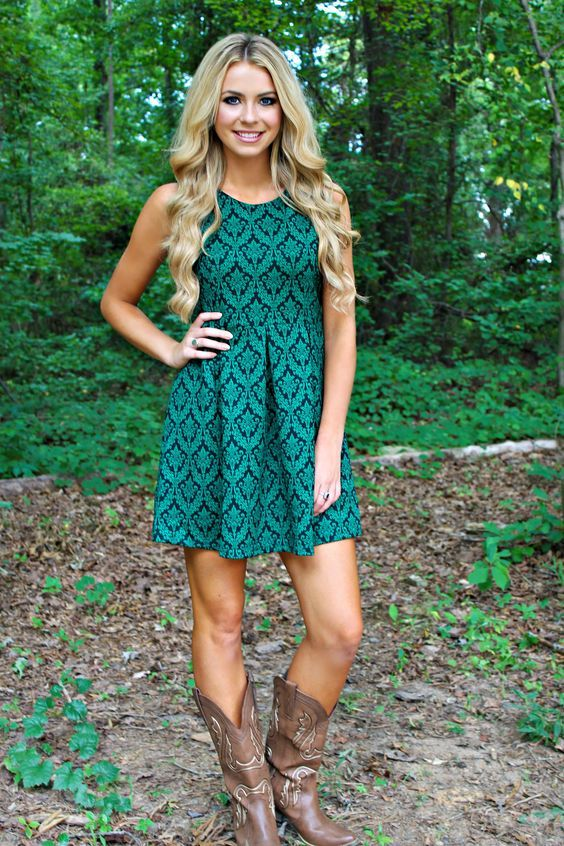 country girl style teal green dress with taupe cowboy