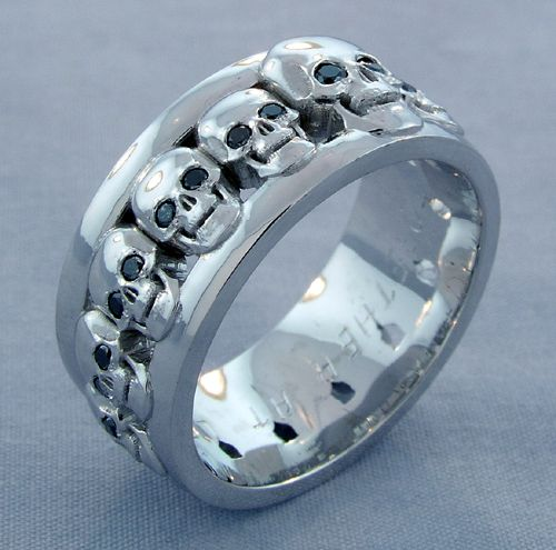 Custom Men S Skull Wedding Band With Black Diamond Eyes Imagesjewelers Customjewelry Weddingring Sk Skull Engagement Ring Skull Jewelry Skull Wedding Ring