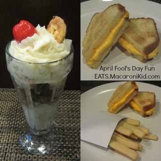 "April fools day meal. Mashed potatoes & shredded pork sundae with Cookie fries and pound cake ""grilled cheese"".  Awesome!"