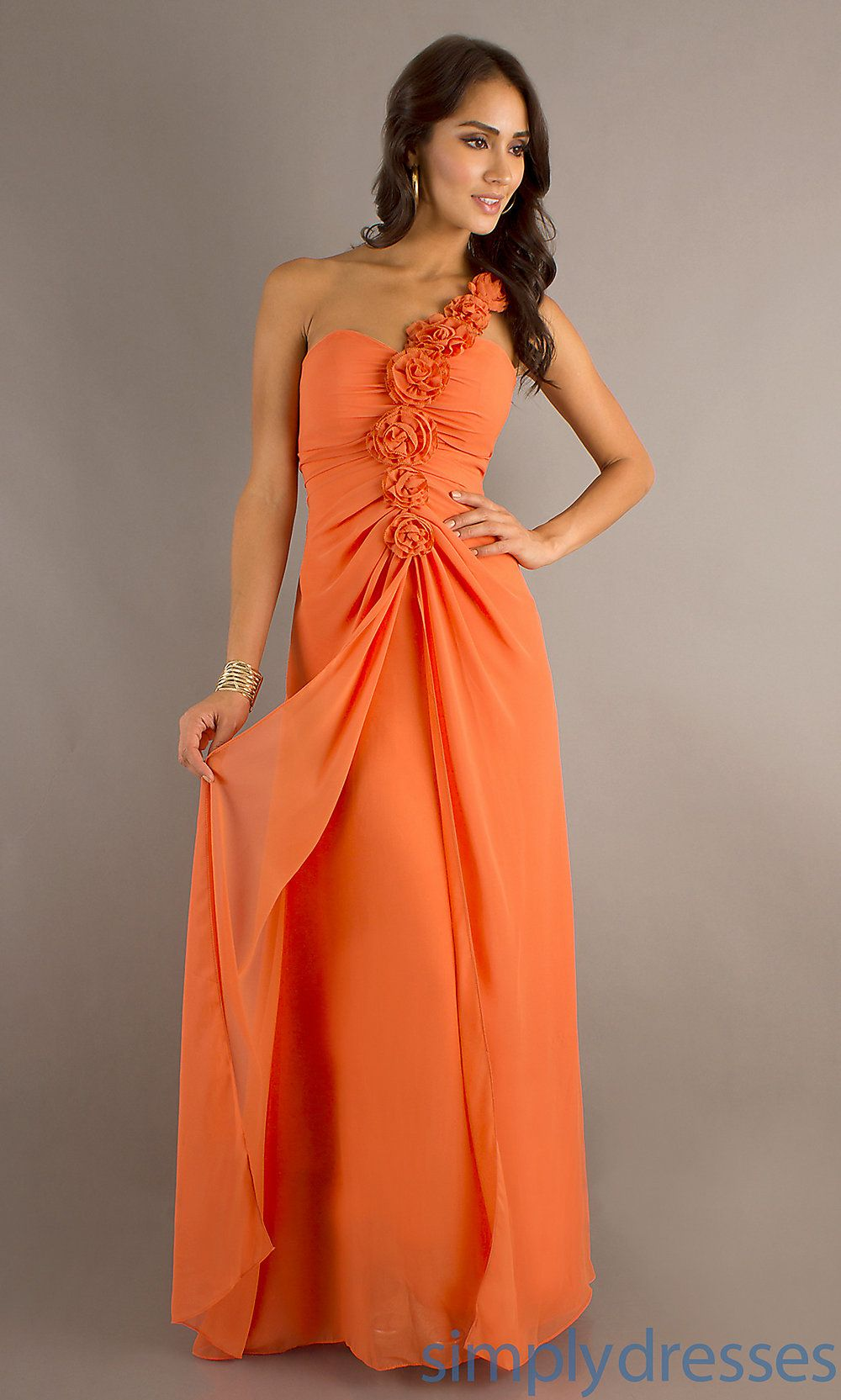Bebe long orange dress pics long one shoulder dress for Cheap wedding dresses in orange county