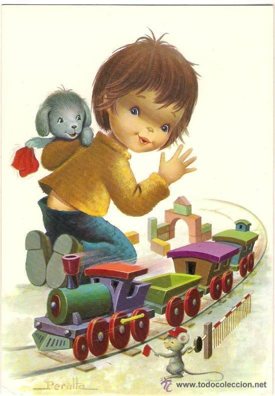 57678 postal dibujo ni o jugando con tren de madera - Ilustraciones infantiles antiguas ...
