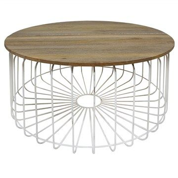 Arrell Timber And Metal 80cm Round Coffee Table White