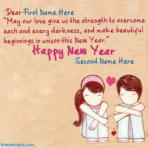 write lovers name on cute new year wishes card images and ...