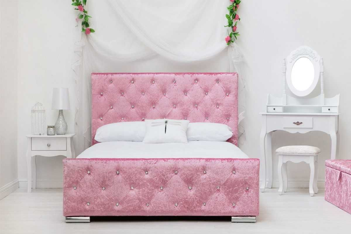 Beaumont Pink Crushed Velvet Fabric Diamante Bed Frame Double King