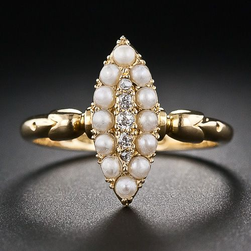 Pearl And Diamond Ring Antique