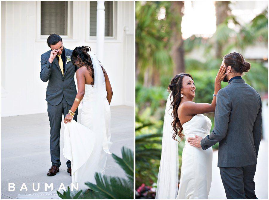 Sweet, emotional First Look.   Hotel Del Coronado Wedding, Photography by Bauman Photographers  View More: http://baumanphotographers.com/blog/destination-wedding-photography/2015/10/balboa-park-wedding-san-diego-ca-wedding/
