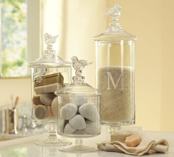 For M + Du0027s Bathroom   Glass Bird Canisters
