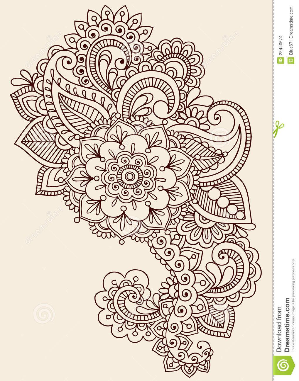 Mehndi Designs High Quality : Henna mehndi paisley doodle vector design download from