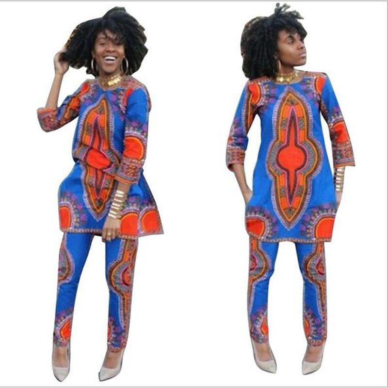 2017 Printemps Deux Pièces Ensemble Cire Top et Pantalon Femmes Costumes  Deux Pièces Ensemble Femmes Africaines 38774716e5f