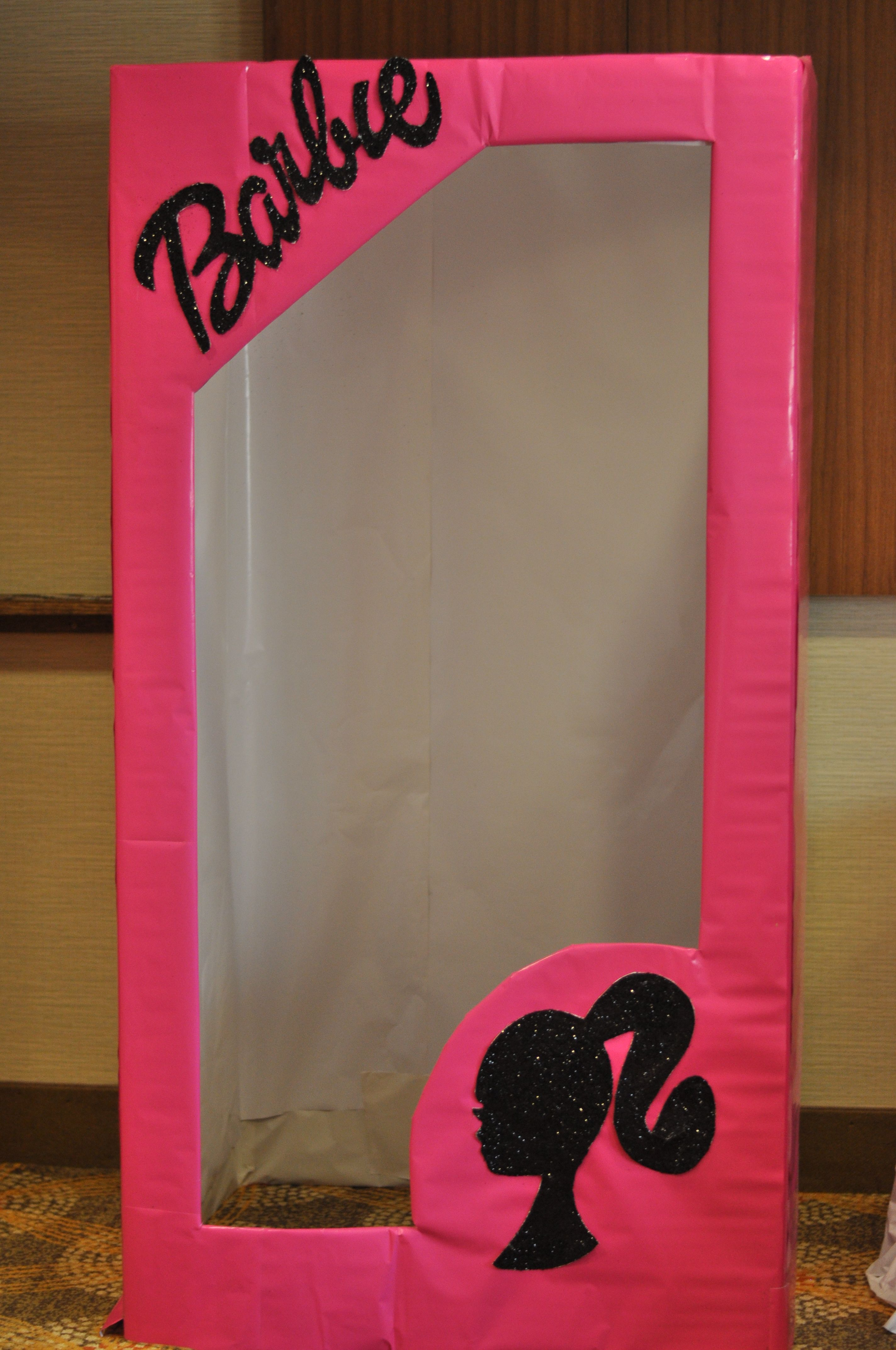 Life Size Barbie Box Made Out Of A Free Refrigerator Box And Dollar Tree Wrapping Paper