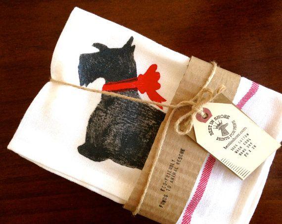 Scottie Tea Towel Scottish Terrier Kitchen Decor Scotty Dog Dish Cloth % Tou2026