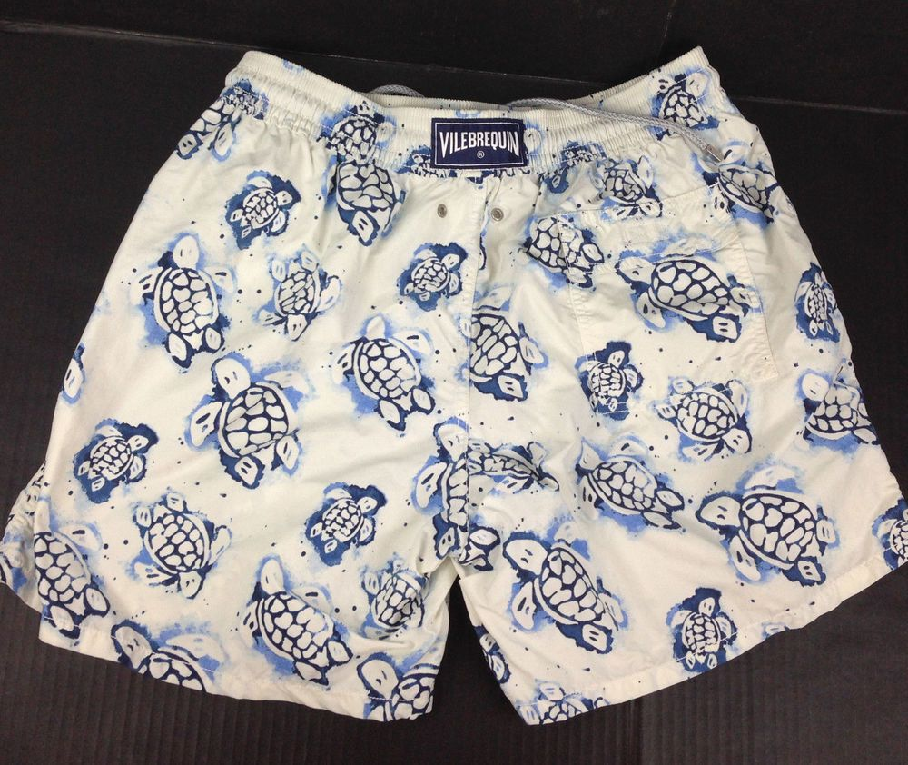 New Vilebrequin Mens Swim Trunks Shorts Size Large Navy Gold Striped