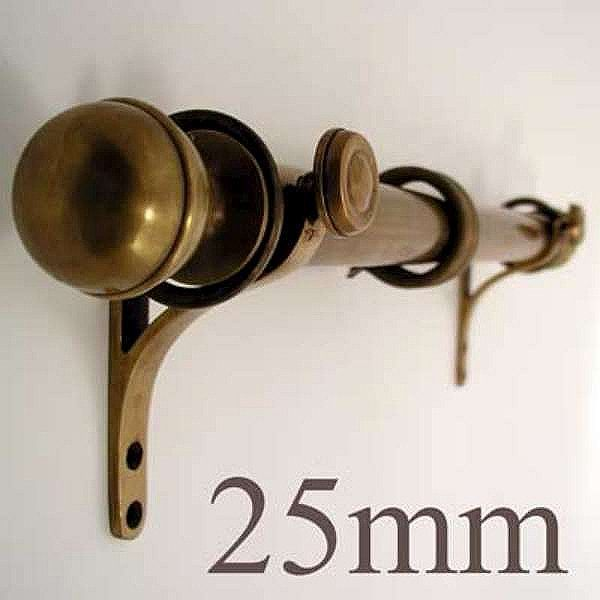 25mm Curtain Pole Only Antique Satin Brass Curtain Poles Wooden