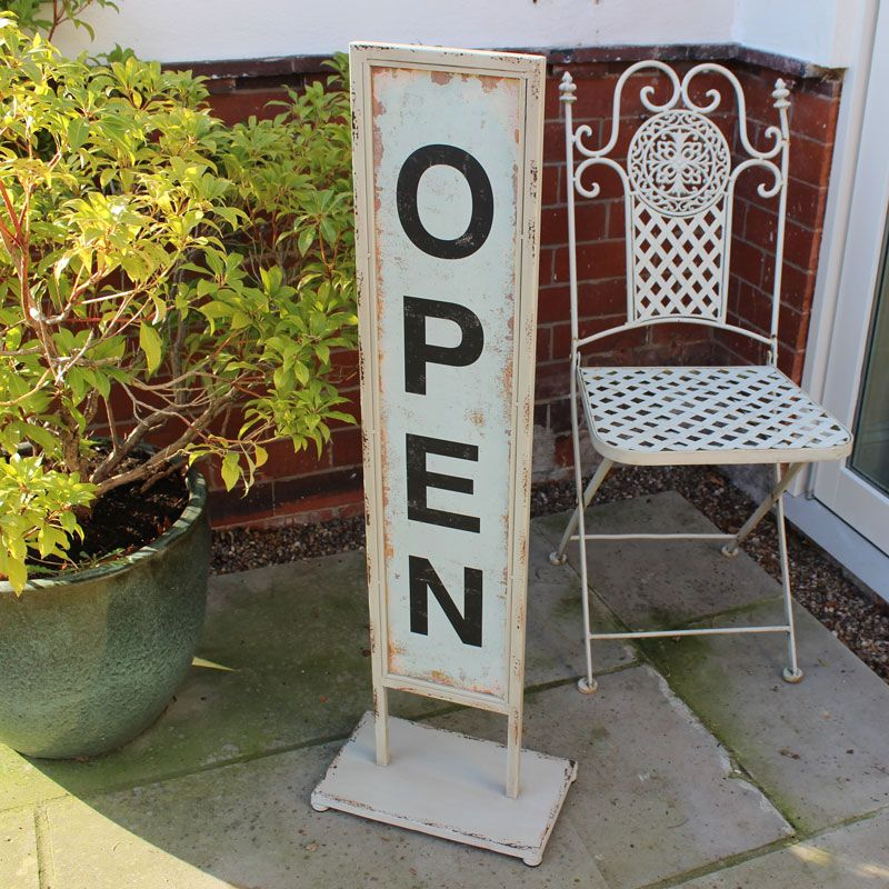 Rustic Grey Metal Open / Closed Sign