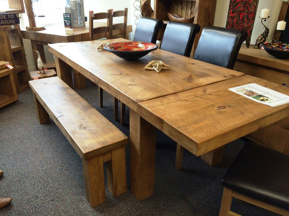 RUSTIC CHUNKY EXTENDING DINING TABLE SOLID WOOD PLANK **choose Your Size**