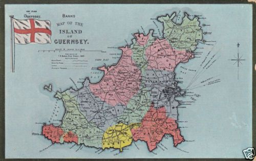 GUERNSEY COLOURED MAP FLAG POSTCARD Home Guernsey Channel