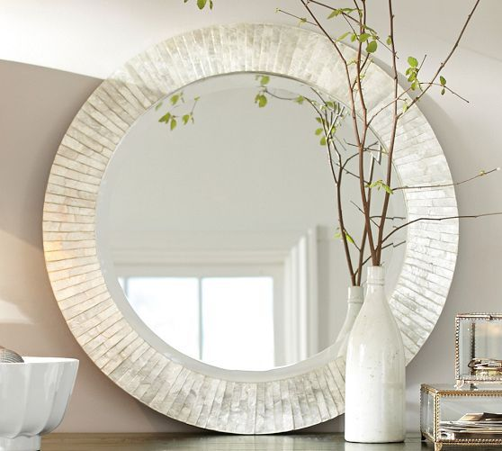 Miranda Capiz Round Fixed Mirror In 2019 Mirror Round